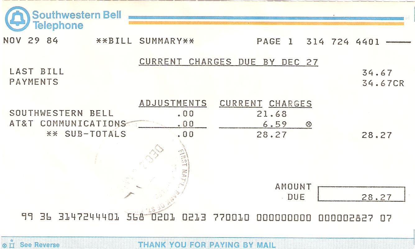 phone bill:
