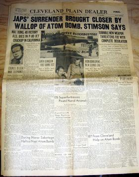 Front page of the Cleveland Plain Dealer dated August 7, 1945 featuring the atomic bombing of Hiroshima, Japan