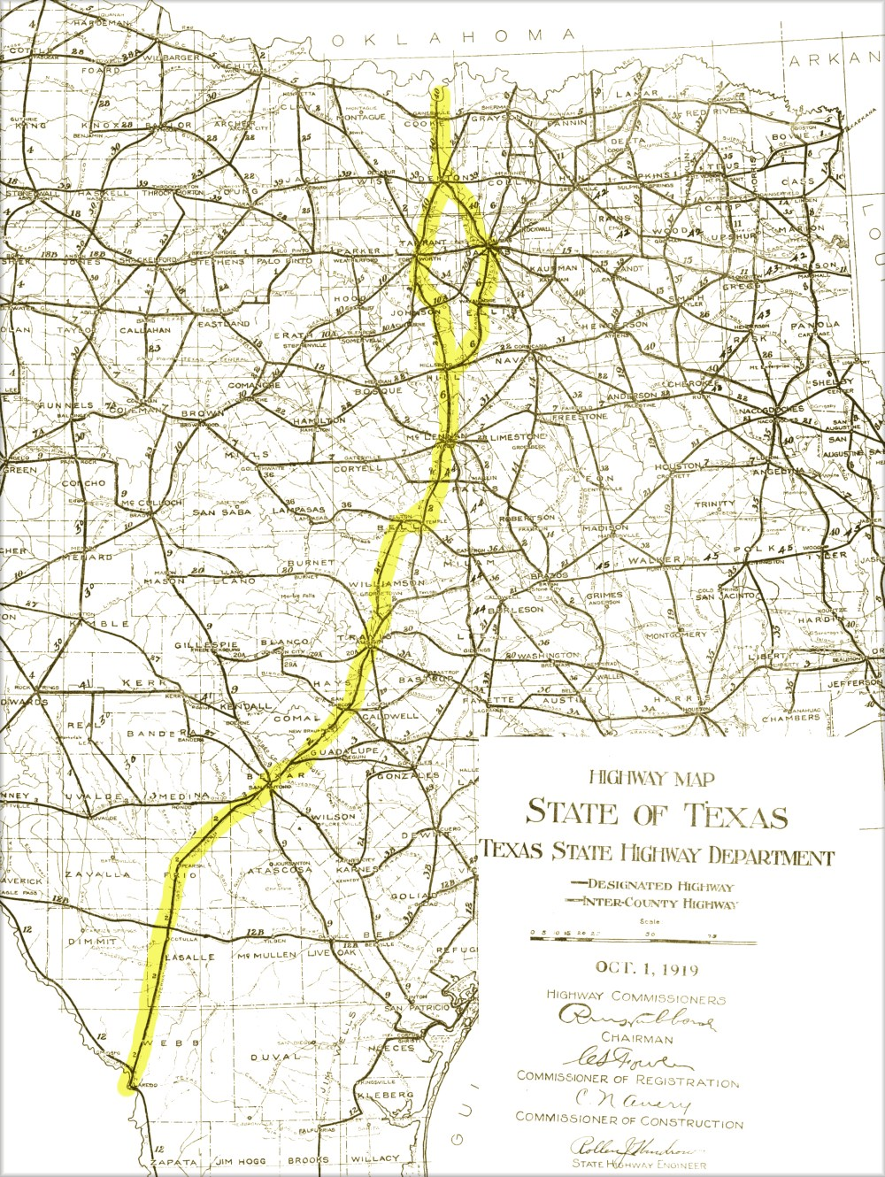 Interstate 35 highlighted over 1919 Road Map of Texas : texas