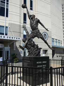 "The Michael Jordan statue, known as ""The Spirit"", on the east side of the United Center."