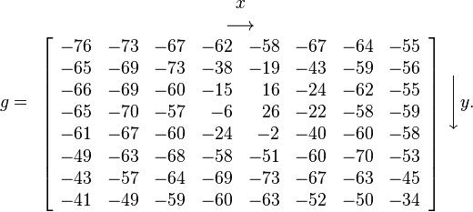 g= \begin{array}{c} x \\ \longrightarrow \\ \left[ \begin{array}{rrrrrrrr}  -76 & -73 & -67 & -62 & -58 & -67 & -64 & -55 \\  -65 & -69 & -73 & -38 & -19 & -43 & -59 & -56 \\  -66 & -69 & -60 & -15 & 16 & -24 & -62 & -55 \\  -65 & -70 & -57 & -6 & 26 & -22 & -58 & -59 \\  -61 & -67 & -60 & -24 & -2 & -40 & -60 & -58 \\  -49 & -63 & -68 & -58 & -51 & -60 & -70 & -53 \\  -43 & -57 & -64 & -69 & -73 & -67 & -63 & -45 \\  -41 & -49 & -59 & -60 & -63 & -52 & -50 & -34 \end{array} \right] \end{array} \Bigg\downarrow y.