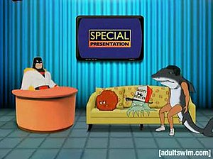 Anime Talk Show - Space Ghost interviewing Meatwad, Early Cuyler and Sharko.