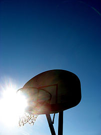 Picture of a basketball net.