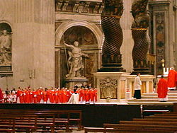 Cardinals at Mass in Saint Peter's Basilica two days before Papal conclave, April 16, 2005.