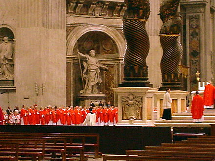 Cardinals at Mass in Saint Peter's Basilica two days before a papal conclave, 16 April 2005. Cardinals at StPeters.jpg