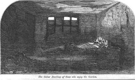 """A Cellar dwelling in Nichol Street"", illustration for ""More Revelations of Bethnal Green"", published in The Builder, vol. XXI, no. 1082 (31 October 1863) Cellar dwelling nichol street 1863.jpg"