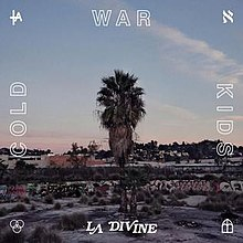 The cover consists of a palm tree in a suburban neighborhood during sunset. One word from the band is on each side of the cover.