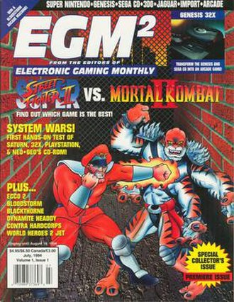 Electronic Gaming Monthly - Cover of the first issue of EGM2 (July 1994): Super Street Fighter II vs. Mortal Kombat II