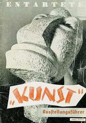 "Degenerate Art Exhibition - Cover of the exhibition program: Degenerate Art exhibition, 1937. The word ""Kunst"", meaning art, is in scare quotes; the artwork is Otto Freundlich's sculpture Der Neue Mensch"