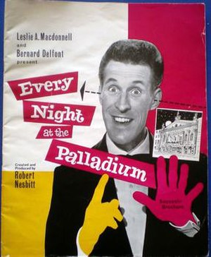 "Bruce Forsyth - Forsyth on front of ""Every Night at the Palladium"" souvenir brochure, 1962"