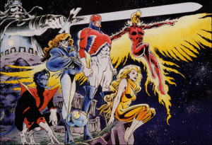 Captain Britain - Excalibur from left to right, Nightcrawler, Shadowcat, Widget, Captain Britain, Meggan, and Phoenix III. Promotional art by Alan Davis.