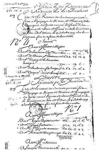 Duc du Maine (slave ship) - Fiche de Desarmement of the first two African slave-trade ships to Louisiana, dated October 4, 1719