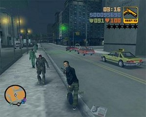 Grand Theft Auto III - Players can freely roam the game's world, and have the ability to use weapons