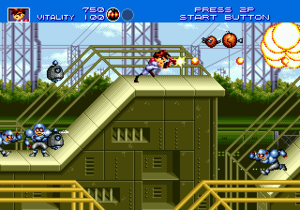 Gunstar Heroes - Co-op gameplay in stage one