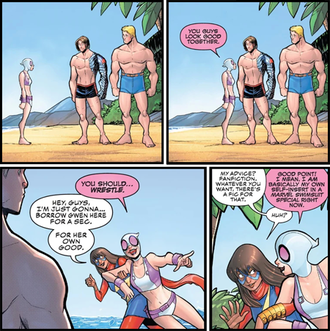 """Comic panel from """"Gwenpool Strikes Back"""" #3 featuring Steve Rogers and Bucky Barnes"""