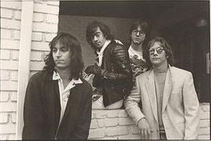 Hindu Love Gods (band) - Hindu Love Gods, 1990. From left to right: Peter Buck, Bill Berry, Mike Mills, and Warren Zevon
