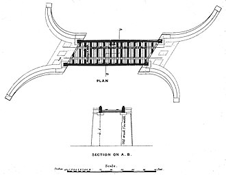 Inverythan rail accident - The track was supported by wooden beams laid on the lower flanges of the massive castings used to form the main structure. Each of the two main spans were made from two castings bolted together at the centre of the bridge. Each casting was curved upwards towards the centre, so as to counteract the greatest load there, and the central joint was reinforced underneath by a wrought iron boss.