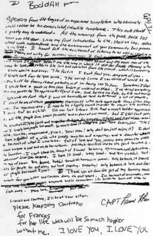 Suicide of Kurt Cobain - Image: Kurt's Note