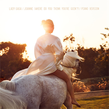 An image of Lady Gaga riding a horse, against the setting sun.