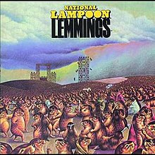Album cover to National Lampoon's Lemmings (1973), illustrated by Melinda Bordelon