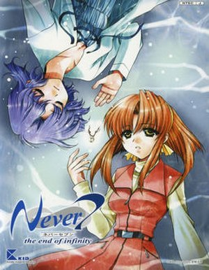 Never 7: The End of Infinity - Cover art, featuring Izumi (top) and Yuka (bottom)