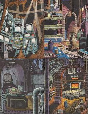 Batcave - Four Satellite Batcaves used during No Man's Land. Clockwise from top left: Central Batcave (Robinson Park Reservoir), Batcave South (A boiler room beneath Paris Island), Northwest Batcave (a subbasement of Arkham Asylum), and Batcave East (Wayne Enterprises-owned oil refinery). Art by Stan Boch.