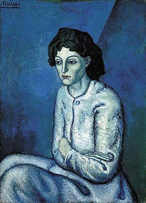 Picasso's Blue Period - Image: Pablo Picasso, 1901 02, Femme aux Bras Croisés, Woman with Folded Arms (Madchenbildnis), oil on canvas, 81 × 58 cm (32 × 23 in)