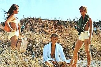 Last Summer - Barbara Hershey, Bruce Davison and Richard Thomas in a scene from Last Summer filmed on Fire Island.