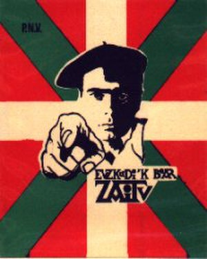 "Basque Nationalist Party - PNV sticker. Text: ""Euzkadi´k bear zaitu"" (Euzkadi needs you). It is inspired by Alfred Leete's British poster for Kitchener's Army."