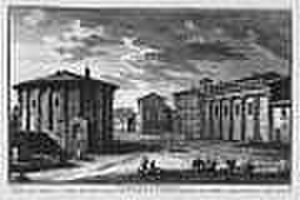 Forum Boarium - Temple of Hercules Victor (T. Herculis Victoris). The temple of Portunus on the right. Etching by Giuseppe Vasi, mid 18th century.