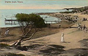 Brighton, Victoria - Postcard of Brighton Beach in 1910
