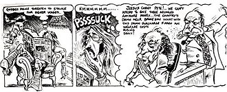 Rand Holmes - The Harold Hedd strip lampooned other contemporary personalities, such as Prime Minister Pierre Trudeau and Minister of Finance Edgar Benson.