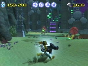 Ratchet & Clank (2002 video game) - Ratchet, with Clank on his back, using the Blaster. Visible are the ammunition, health, and bolt counters at the top of the screen.