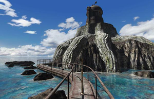 Riven - A screenshot of Riven, showing the prison island where the non-player character Catherine is held captive. The graphics and visuals of Riven were critically praised upon release.