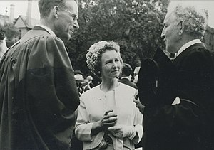 "G. B. Caird - The Cairds with Robert Graves (r.), author of ""I Claudius."" Graves was Professor of Poetry at Oxford; Mollie Caird was an accomplished poet with two volumes of published verse to her credit"