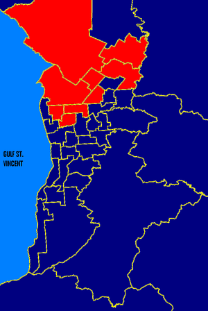 South Australian state election, 1993 - Metro SA: ALP in red, Liberal in blue. These boundaries are based on the 2006 electoral redistribution.