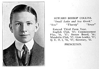 Seward Collins - Seward Collins from his 1917 The Hill School yearbook.