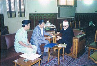 Aleem Said Ahmad Basher - L-R Aleem Said, Sheikh Anwar Basher, former president of Jamiatu Muslim Mindanao during courtesy call at the office of late Al-Azhar Grand Imam, Sheikh Jadul Haq Ali Jadul Haq.