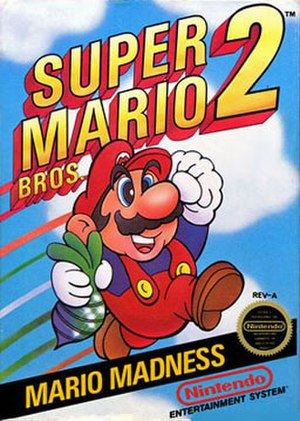 Super Mario Bros. 2 - North American box art, with Mario holding a beet.
