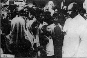 1950 East Pakistan riots - Shyama Prasad Mukherjee talking to Bengali Hindu refugees at a refugee camp in Dhubulia, West Bengal