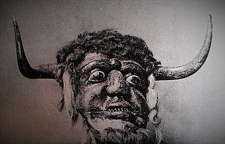 Dorset Ooser wooden head from Melbury Osmond folklore