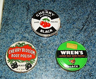 Shoe polish - Three common types of British shoe polish of the 1960s or 1970s: two different versions of Cherry Blossom and a version of Wren's