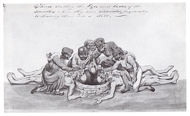 Sketch by the same artist of a group of Thugs stabbing the eyes of murdered travellers before throwing the bodies into a well. Thugs Blinding and Mutilating Traveller.JPG