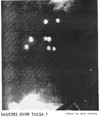 Kenneth Arnold UFO sighting - Eight Arnold-like objects photographed over Tulsa, Oklahoma, July 12, 1947 (from Tulsa Daily World).