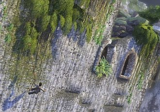 Uncharted: Drake's Fortune - A platforming segment, showing Nathan attempting to scale the outer walls of the Fortress.