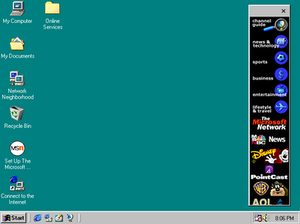 Internet Explorer 4 - The Channel Bar, appearing in Windows 98, is an Active Desktop item