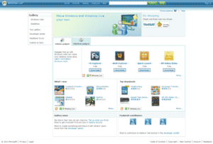 Windows Live Gallery homepage