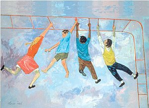 'Kids', oil painting by Louis Pohl