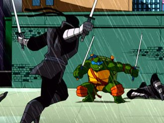 Leonardo (Teenage Mutant Ninja Turtles) - Leonardo in the 2003 animated series, fighting the Foot