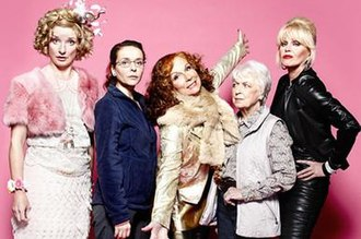 Absolutely Fabulous - The main cast, from left to right, Jane Horrocks, Julia Sawalha, Jennifer Saunders, June Whitfield and Joanna Lumley